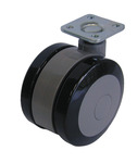 Twin wheel castor, load-bearing capacity 100 kg, plastic, grey product photo