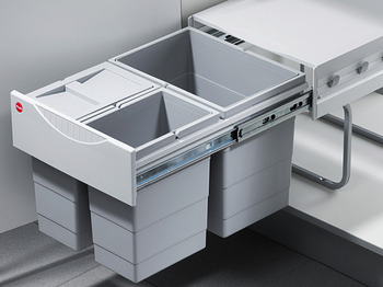 Three-bin waste sorter, 1 x 18 and 2 x 8 litres, Hailo Tandem 3642-13 space saving waste bins