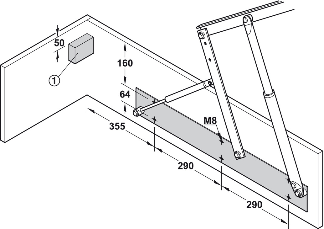 Bed Lift Opening Mechanism With Gas Filled Struts In