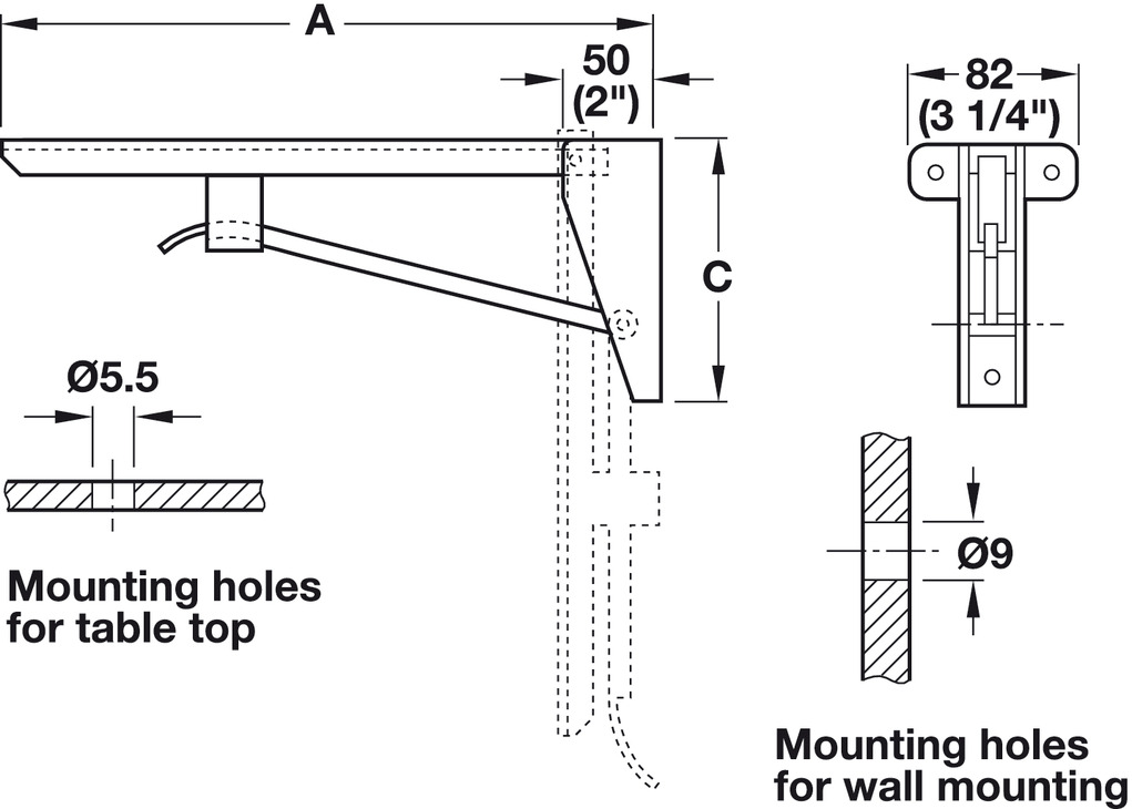 Folding Bracket Load Bearing Capacity 150kg Per Pair