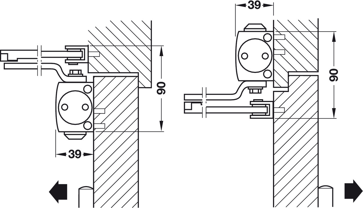 door closer adjustment. standard installation (door leaf installation) on pull side door closer adjustment