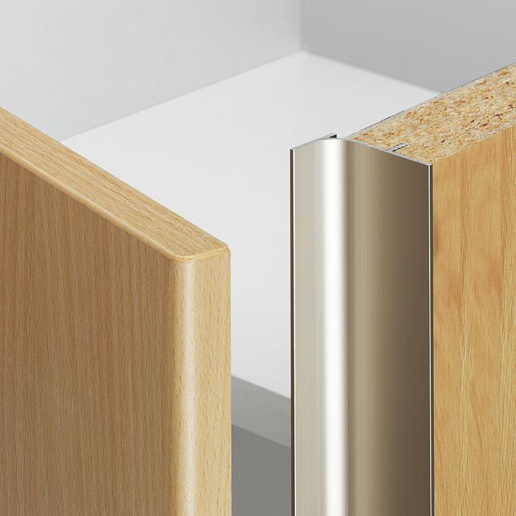 Recessed grip vertical Aluminium for seemingly handleless