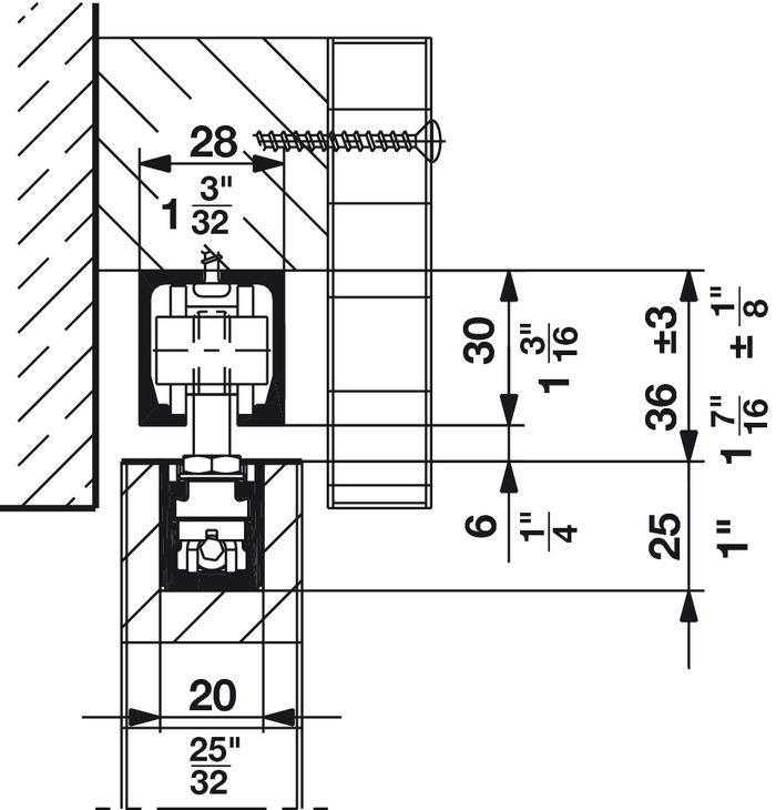 Sliding And Folding Door Fitting Hawa Junior 40 B Cavity