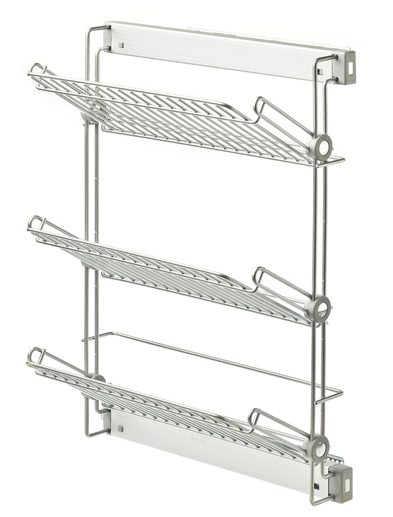 Wire shoe rack, three tiers, side mounted pull-out - in the Häfele ...