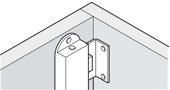 Angled strike plate, for screw fixing