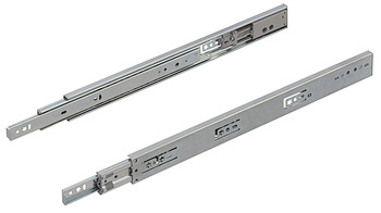 Ball bearing runners, full extension, load-bearing capacity up to 45 kg, steel