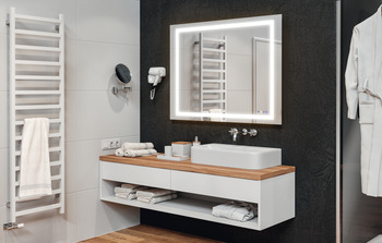 Bathroom mirror, Häfele Aquasys, multi-functional