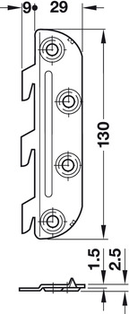 Bed connector, with cranked hook-in part and striking plate