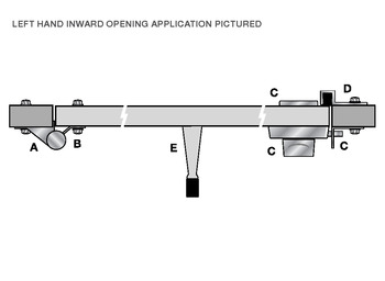 Bolt through partition fitting, Complete hold open hinge set