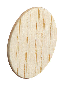 Cover caps, Real wood, untreated, self-adhesive, ⌀ 18 mm