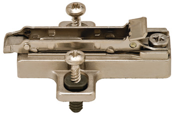 Cruciform mounting plate, Häfele Duomatic SM, zinc alloy, with pre-mounted special screws and spreading dowels