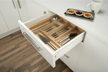 Cutlery tray, FitFlex, timber, for 600 - 1000 mm cabinet width