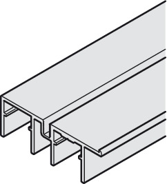 Double guide track, Bottom, with stop strip, for screw fixing to base panel