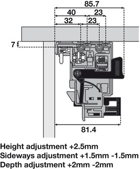 Drawer mounting clips, 3D adjustment