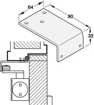 Extended parallel arm bracket, for DCL door closers