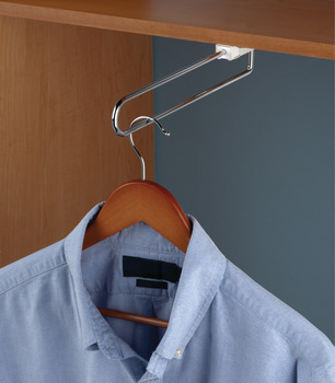 Extending wardrobe rail, For screw fixing beneath shelves or cabinet tops, load-bearing capacity 10 kg