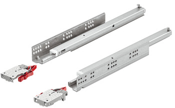 Full extension concealed runner, Häfele Matrix Runner UM A30, full extension, load bearing capacity up to 30 kg, steel, coupling installation