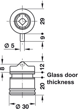 Glass door lock for hinged doors,, Symo