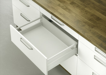MX Pot Drawer, Häfele Matrix Box P50, with rectangular side railing, drawer side height 92 mm, load bearing capacity 50 kg