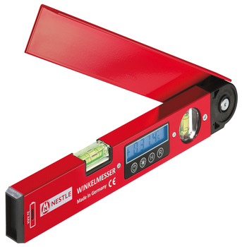 Precision angle gauge, with 2 bubble inserts and LCD display, spirit level