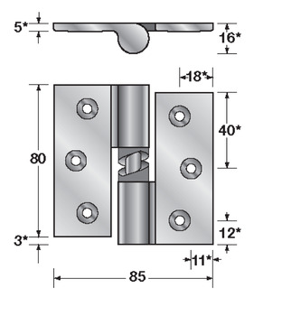 Screw fix partition fittings, Gravity hinge
