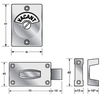 Screw fix partition fittings, Latch and indicator set