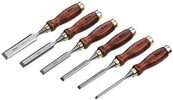 Set of wood chisels, 6-piece, with beech handle, rim of a bell and forged blade
