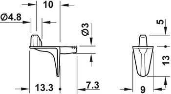 Shelf support, For wooden shelves, for plug fitting into drill hole ⌀ 3 mm