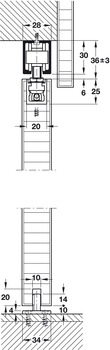 Sliding and folding door fitting, Hawa Junior 40/B-Cavity, set