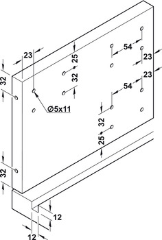 <em>Drilling pattern for doors and groove dimensions for cabinet base panel</em>