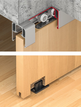Sliding door fitting, Slido D-Line11 50C to 120C, set without running track