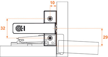 Soft Closing mechanism, for door,Smove, for installation in/on top panel or base at hinge side