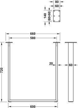 Table, bench and furniture leg frame, for screw fixing