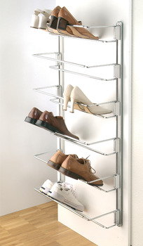 Wall rail, for shoe rack, continuously adjustable